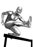Chromeman_Running Hurdles Royalty Free Stock Photography