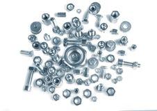 Chromeplated螺栓和坚果 免版税库存照片