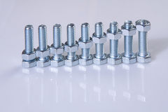 Chromeplated bolts and nuts Royalty Free Stock Photography