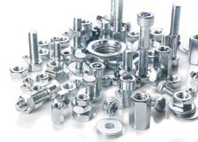 Chromeplated bolts and nuts Stock Image