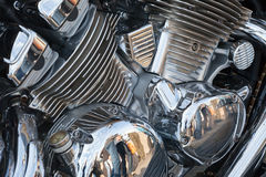 The chromeplated part of the engine for the motorcycle Royalty Free Stock Photo