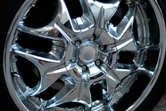 The chromeplated rim of a wheel Stock Photos