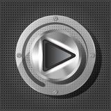 Chromieren Sie Knopf mit Spielikone Stockbild