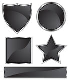 Chromieren Sie schwarzes Ikonen-Form-Set Stockbilder