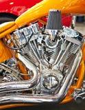 Chromierter Motor des Motorrads Lizenzfreie Stockfotografie