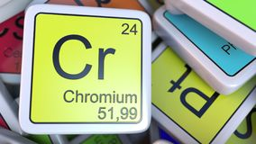 Chromium Cr block on the pile of periodic table of the chemical elements blocks. Chemistry related 3D rendering Stock Photography
