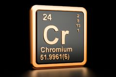 Chromium Cr chemical element. 3D rendering. Chromium Cr, chemical element. 3D rendering isolated on black background Royalty Free Stock Photography