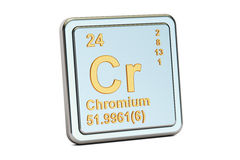 Chromium Cr, chemical element sign. 3D rendering. Isolated on white background Royalty Free Stock Images