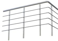 Chromium metal fence with handrail. On white background royalty free stock photo