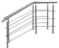 Chromium metal fence with handrail. On white background stock photography