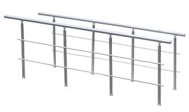 Chromium metal fence with handrail. On white background royalty free stock image
