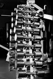 Chromium-plated dumbbells Royalty Free Stock Images