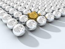 Chromium spheres array. 3D image stock illustration