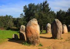 Chromlech di Almendres, Evora, Portogallo Immagine Stock