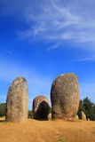 Chromlech di Almendres, Evora, Portogallo Fotografie Stock Libere da Diritti
