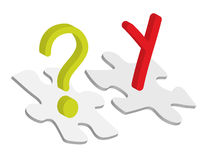 Chromosome concept. Chromosome symbol and question mark on puzzle pieces Royalty Free Stock Photography