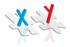 Chromosome concept. Chromosome symbols and puzzle pieces as chromosome concept Stock Photo