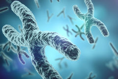 Chromosomes on scientific background. Life and biology, medicine scientific concept with focus effect. 3d rendering. Chromosomes on scientific background. Life Stock Image