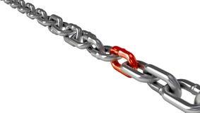 Chromu łańcuch z czerwonym połączeniem Obrazy Stock