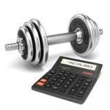 Chromu kalkulatora i dumbbell kalorie ilustracji