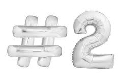 Chromu numer dwa z hashtag symbolem Obrazy Stock