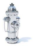 Chromu pożarniczy hydrant na białym tle Zdjęcie Royalty Free