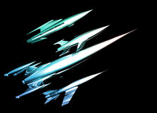 chromu retro statek kosmiczny styl Fotografia Royalty Free