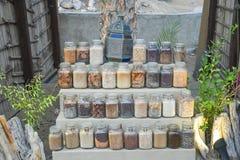 Chroni owoc i warzywo w szkło składzie obraz stock