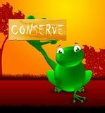 Chroni znaka Pokazuje Naturalną konserwacji 3d ilustrację ilustracja wektor