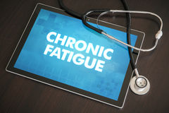 Chronic fatigue (neurological disorder) diagnosis medical concept on tablet screen with stethoscope.  stock images
