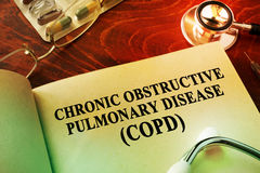 Chronic obstructive pulmonary disease COPD. Book with title Chronic obstructive pulmonary disease COPD royalty free stock images