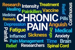 Chronic Pain Word Cloud. On Blue Background vector illustration