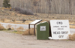 Chronic wasting disease hunter head dropoff container and sign Royalty Free Stock Photography