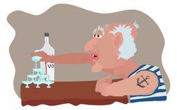 Chronische Alkoholiker- und Schnapskarikatur lizenzfreie abbildung