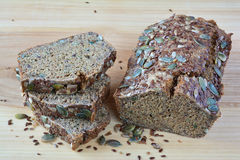 Chrono bread with seeds. Chrono, organic, unleavened bread with various seeds, pumpkin, sunflower, flax seeds, delicious and very healthy Stock Photo