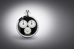 Chrono on gradient. An old black and chrome chronometer perfectly working on a gradient background Stock Images