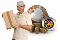 Chrono service. Isolated image of a messenger delivering a parcel with a world map, packages and a chronometer as a background Stock Images