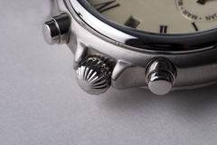 Chronograph 9. A close-up of the knobs of a wrist watch - focus is on knobs Stock Images