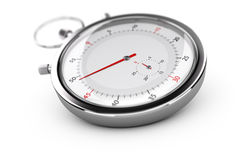 Chronograph, Stopwatch Over White. Chronograph with red needles over white background, blur effect. Concept of measurement or punctuality Stock Photography