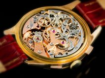 Chronographe Watch Movement - Valjoux 23. Over hundred complex parts are assembled in the Swiss Valjoux 23 chronographe watch Stock Images