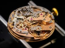 Chronographe Watch Movement - Vlajoux 23. Over hundred complex parts are assembled in the Swiss Valjoux 23 chronographe watch Stock Image