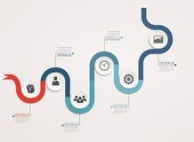 Chronologie, calibre d'infographics avec la structure par étapes d'affaires Photographie stock libre de droits
