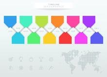 Chronologie colorée d'Infographic avec 12 mois de l'année illustration de vecteur
