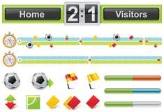 Chronologie d'allumette de football de vecteur avec le tableau indicateur Photographie stock libre de droits