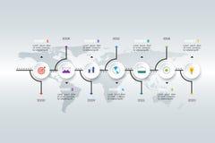 Chronologie horizontale posée d'Infographic Images libres de droits