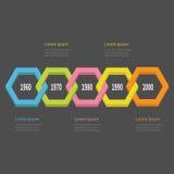 Chronologie Infographic de cinq étapes Ligne colorée segment du polygone 3D de chaîne descripteur Conception plate Fond noir D'is Images libres de droits