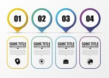 Chronologie Infographic met wijzers Modern vectorontwerpmalplaatje Vector Stock Fotografie