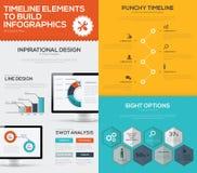 Chronologie infographic vectorreeks en bedrijfscomputer vlakke kleur Stock Foto