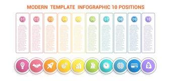 Chronologie modern malplaatje infographic voor zaken 10 stappen, proc Stock Fotografie