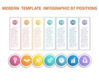 Chronologie modern malplaatje infographic voor zaken 7 stappen, proce Stock Foto